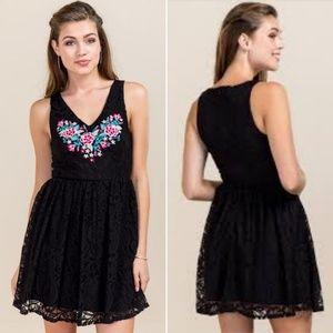 Francesca's   Boho Embroidered Lace Overlay Dress